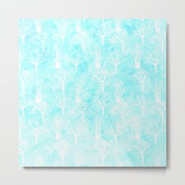 White winter forest- With snow covered trees- pattern on teal Metal Print