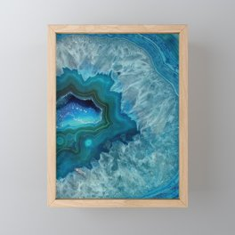 Teal Druzy Agate Quartz Framed Mini Art Print