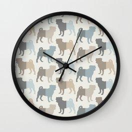 Pugs Pattern - Natural Colors Wall Clock
