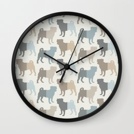 Pugs Pattern - Natural Colors Wall Clock