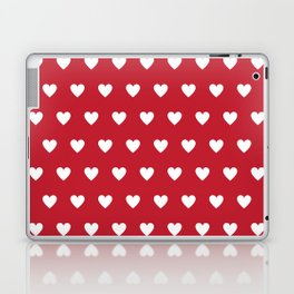 Polka Dot Hearts - red and white Laptop & iPad Skin