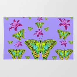 GREEN MOTHS & PURPLE LILIES LILAC COLOR Rug