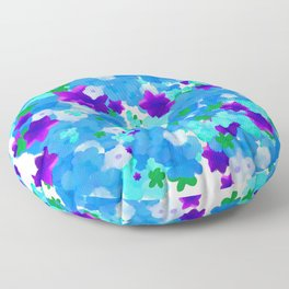 Bright Floral Pattern with Girly Flowers in Preppy Blue and Purple Floor Pillow
