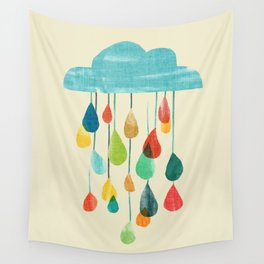 cloudy with a chance of rainbow Wall Tapestry
