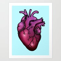 anatomical heart Art Prints featuring Anatomical Heart by Hungry Designs