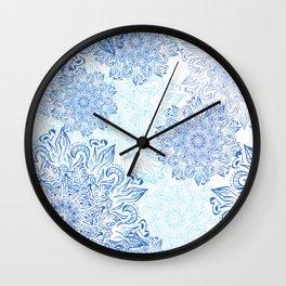 Mandala blue snowflake illustration. Wall Clock