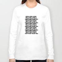 greek Long Sleeve T-shirts featuring Greek Key by Charlene McCoy