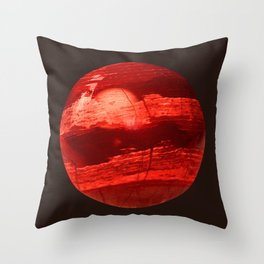 Red Orb Planet Throw Pillow