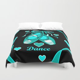 Love to Dance Teal Ballet Shoes Duvet Cover