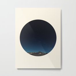 Mountain Against Beautiful Ombre Blue Sky & Star Sky Metal Print