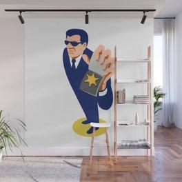 secret agent showing id badge retro Wall Mural