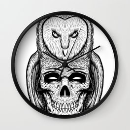 Skull owl tatto Wall Clock