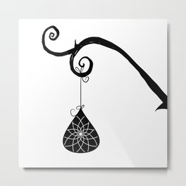 Burtonesque Branch with Ornament 2 / Black on White Metal Print