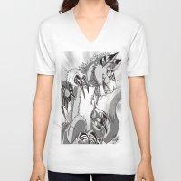 digimon V-neck T-shirts featuring + Digimon - Dorumon + by Xyeziaeos