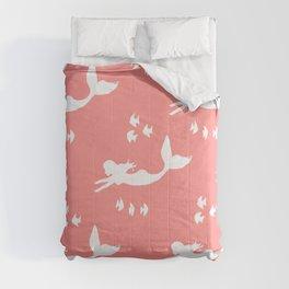 Mermaid Pattern Coral Pink Comforters