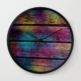Unicorn on Wood 08 Wall Clock