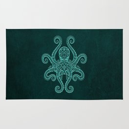 Intricate Teal Blue Octopus Rug