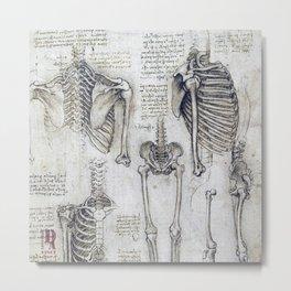 Leonardo Da Vinci human body sketches Metal Print