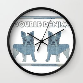 Double Denim French Bulldogs Wall Clock