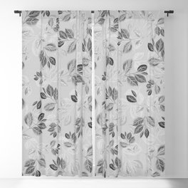 Black and White Leaves Pattern #2 Blackout Curtain