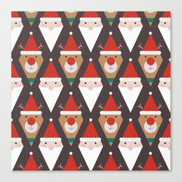 Santa and Rudolph II (Patterns Please) Canvas Print