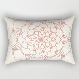 Mandala Bloom Rose Gold on Cream Rectangular Pillow