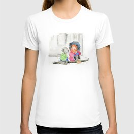 Girl and her dog   Watercolor illustration T-shirt