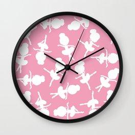 Ballerina Silhouettes, Ballerina Pattern - Pink Wall Clock