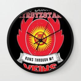 kyrgyzstan Blood runs through my Veins Wall Clock