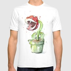 Piranha Plant Art Nintendo Mario Videogame Geek Gaming MEDIUM Mens Fitted Tee White