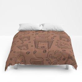 Doodle coffee cat Comforters