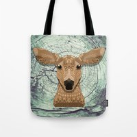 bambi Tote Bags featuring Bambi by ArtLovePassion