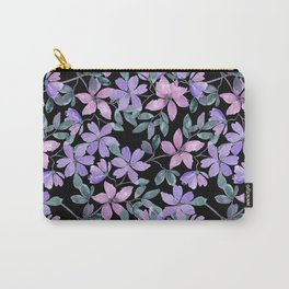 Pink, purple flowers on a black background. Carry-All Pouch