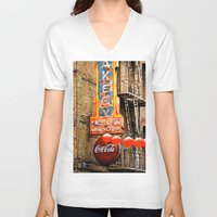 coca cola V-neck T-shirts featuring CHINESE COCA COLA SIGNBOARD by Voodoo Bench