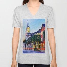 French Quarter at Dawn, Charleston, South Carolina Portrait Unisex V-Neck