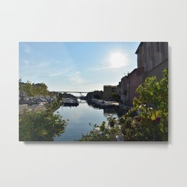 Sunny day in downtown Martigues France Metal Print
