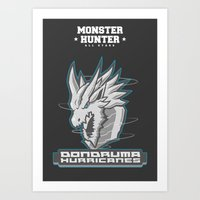 monster hunter Art Prints featuring Monster Hunter All Stars - The Dondruma Hurricanes by Bleached ink