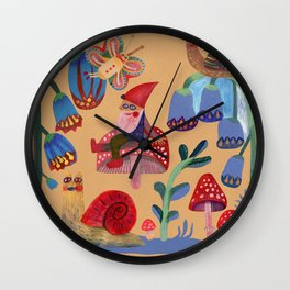 Gnome, snails and butterfies Wall Clock