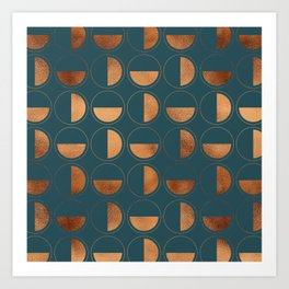 Copper Circles Art Deco on Emerald Art Print