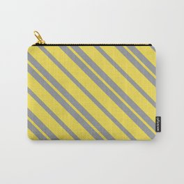 Diagonal Stripes - Pantone Ultimate Gray and Illuminating Carry-All Pouch