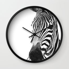 Black and white zebra illustration Wall Clock