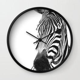 Black and white zebra illustration Wall Clock