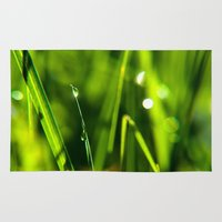 witchcraft Area & Throw Rugs featuring Dew on grass at early backlight by UtArt