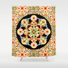 Pastel Carousel Black Circle Shower Curtain