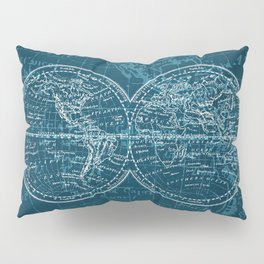 Antique Navigation World Map in Turquoise and White Pillow Sham