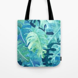 Monstera Leaves   Watercolor Collage in Blue Green Tote Bag