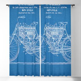 1901 Stratton Gottschalk Motorcycle Patent Blueprint Blackout Curtain
