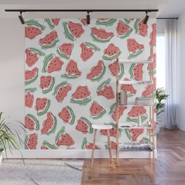 Modern Artsy Watercolor Coral Mint Black Watermelon Wall Mural