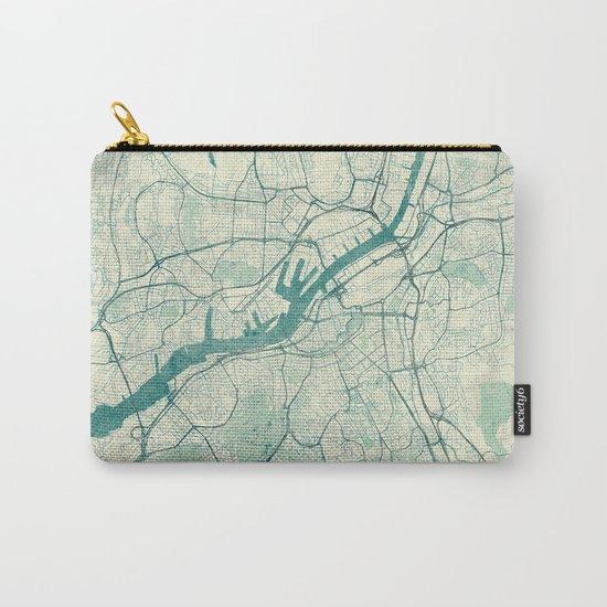 Gothenburg Map Blue Vintage Carry-All Pouch