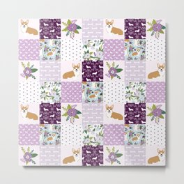Corgi Patchwork Print - purple ,florals , floral, spring, girls feminine corgi dog Metal Print